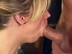 Blonde bitch in a garter belt takes a plowing from her man.
