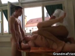 Drunken granny fucked by two.