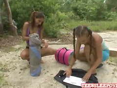 hot playful lesbian sophia and nicole are camping in the backyard.