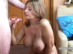 Latina sandie swallows a lucky geeks stiff cock.