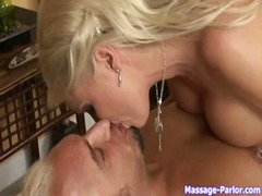 Dianna offers him her sexy shape and gives the hot blowjob!.