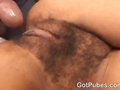 Hot chick gets her hairy pussy filled with a cock.