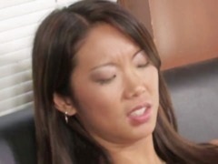 Super-sexy asian lezzie mastering her carpet munching and toying skills.