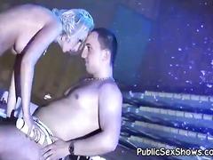 Soaking wet blonde pleasing the man.