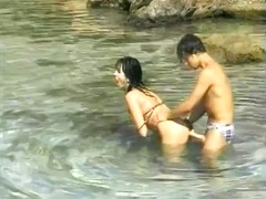 Leopard bikini brunette babe rubs pussy and then eats and bangs hard cock.