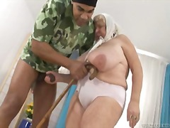 watch this granny with huge amazing tits getting pounded !.