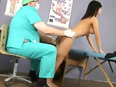 sexy brunette babe passes special gyno exam.