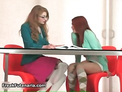 Sexy redhead and blonde babes get horny.