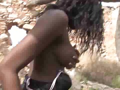 black girl getting pounded outdoors.