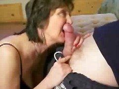 Mature brunette is totally happy with his cock.