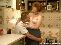 Kitchen gilf fucking.