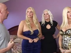 Platinum blond trio of cougars have full-on orgy!.