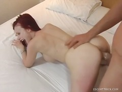 Redheaded escort agrees to fuck on tape.