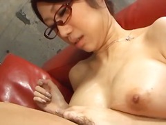 japanese cougar fuuka takanashi in glasses sucking cock.
