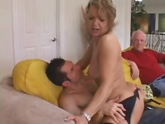 Cougar babe seduces young stud.