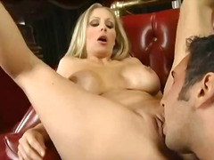 Mature naked blonde babe gets a blowjob.