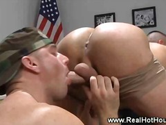 Army pornstar gets blowjob at interview.