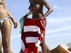 Black girls at the topless beach!!!.
