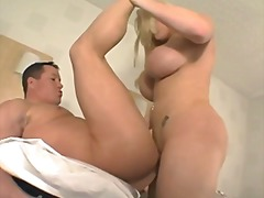 Luscious tranny with huge boobs fucks guy.