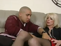 Busty blonde milfs foot massage leads to riding her sons friends big cock.