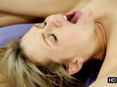 Fitness instructor seduces sex appeal blonde.