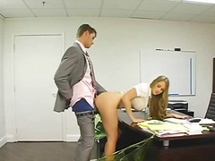 Blonde secretary bent over her desk and fucked.