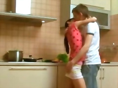 Homemade fuck in the kitchen.