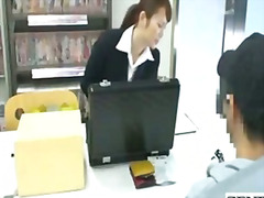 Japanese sextoy saleswoman gives under table footjob .