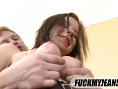 In jeans this slut gets fucked in the ass.