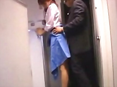 Stewardes getting her pussy fucked from behind by passenger facial on the airplane .