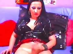 Yummy tranny in uniform doing a hot webcam show .