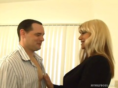 Blonde milf pays tv repairman with bj.