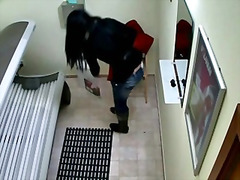 Voyeur real footage from a spy camera in solarium .
