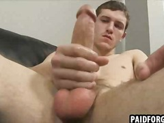 Straight hunk tugging on his cock for some money.