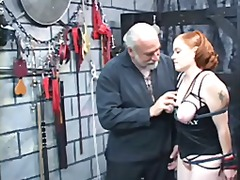 A thick red-headed slut gets nice her tits squeezed.