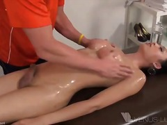 oiled ladyboy drills a guy after massage.