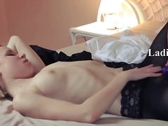 Horny blondie lets bang by big strapon.
