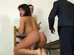 Shocking nude job interview for sexy brunette.