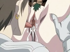 Tied up anime girl squirting in bdsm video.