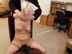 Bound to chair blonde gets vibed until cums.