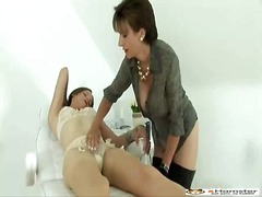 hot girl teased by dominant bitch.