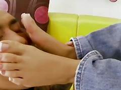 Captivating beauty kortney kane is allowing horny hunk to lick her slender and sexy feet.