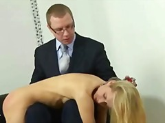 Sexy blonde lady getting hard spanking.