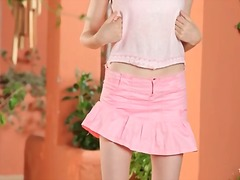 Short pink skirt on a sweet small tits teen.