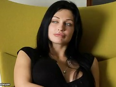 Sexy brunette aletta toys with her wet cunt after a dirty interview with a pornstar company manager.