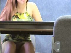 Blonde girl in sundress stars in voyeur clip shot in the cafe.