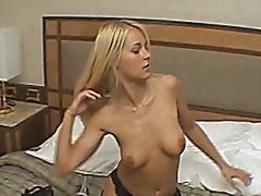 Super hot blonde girl lingerie masturbation.