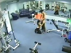 Amateur voyeur with threesome having dirty fucking in the gym.