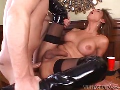 Great sex with leggy shemale in black latex boots.