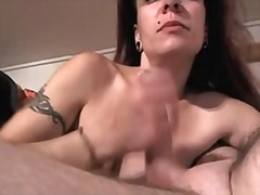 Pierced older wife doing home ramrod suck for fatty husband.